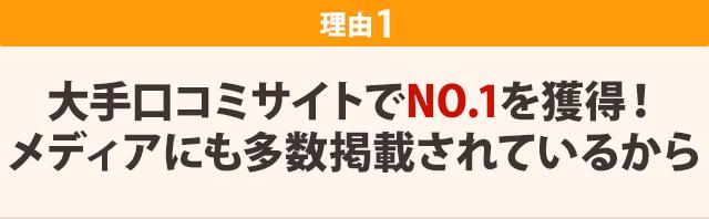 大手口コミサイトでNo.1を獲得!メディアにも多数掲載されているから